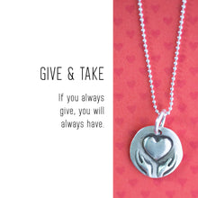 Load image into Gallery viewer, HEART IN HANDS Sterling Silver, Charm Necklace with Sentiment Card