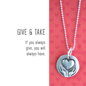HEART IN HANDS Sterling Silver, Charm Necklace with Sentiment Card