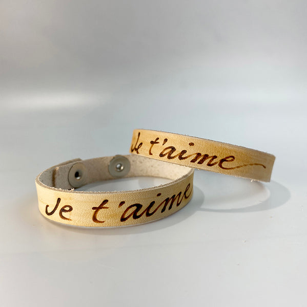 JeTaime (I love you) -  Leather Sentiment Bracelet