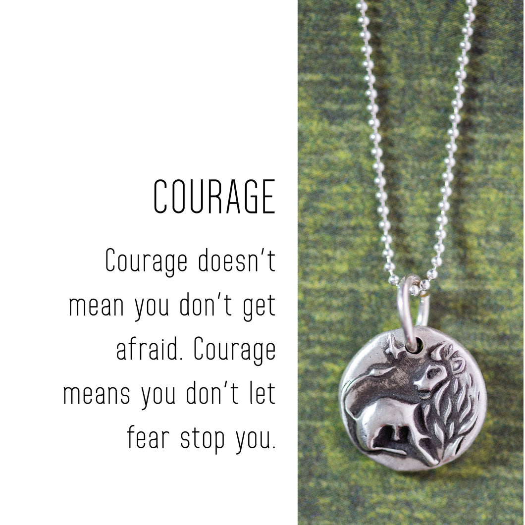 LION Sterling Silver, Charm Necklace with Sentiment Card