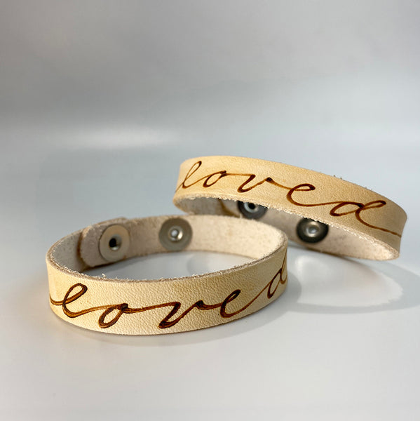Loved -  Leather Sentiment Bracelet