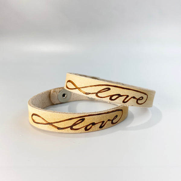 Love (with infinity symbol) -  Leather Sentiment Bracelet