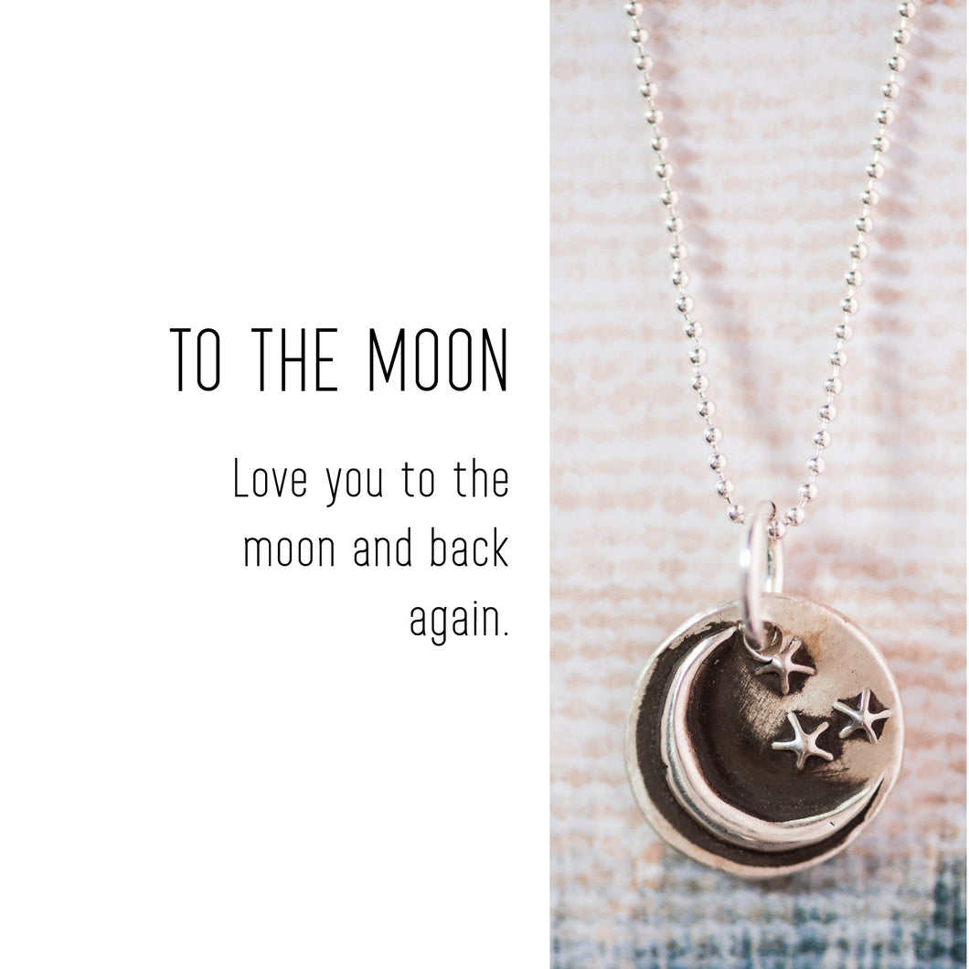 MOON Sterling Silver, Charm Necklace with Sentiment Card