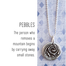 Load image into Gallery viewer, Sterling silver MOUNTAIN charm that is about the size of a dime and has a wax seal look and feel. Charm comes with a sterling jump ring that is large enough to slide over any existing chain in your collection.  Original designs by artist, Rebecca Ramos.