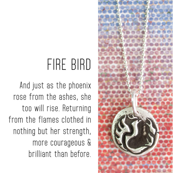 PHOENIX Sterling Silver, Charm Necklace with Sentiment Card