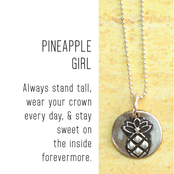 PINEAPPLE Sterling Silver, Charm Necklace with Sentiment Card