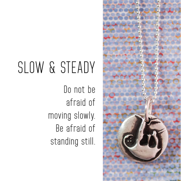 SLOTH Sterling Silver, Charm Necklace with Sentiment Card
