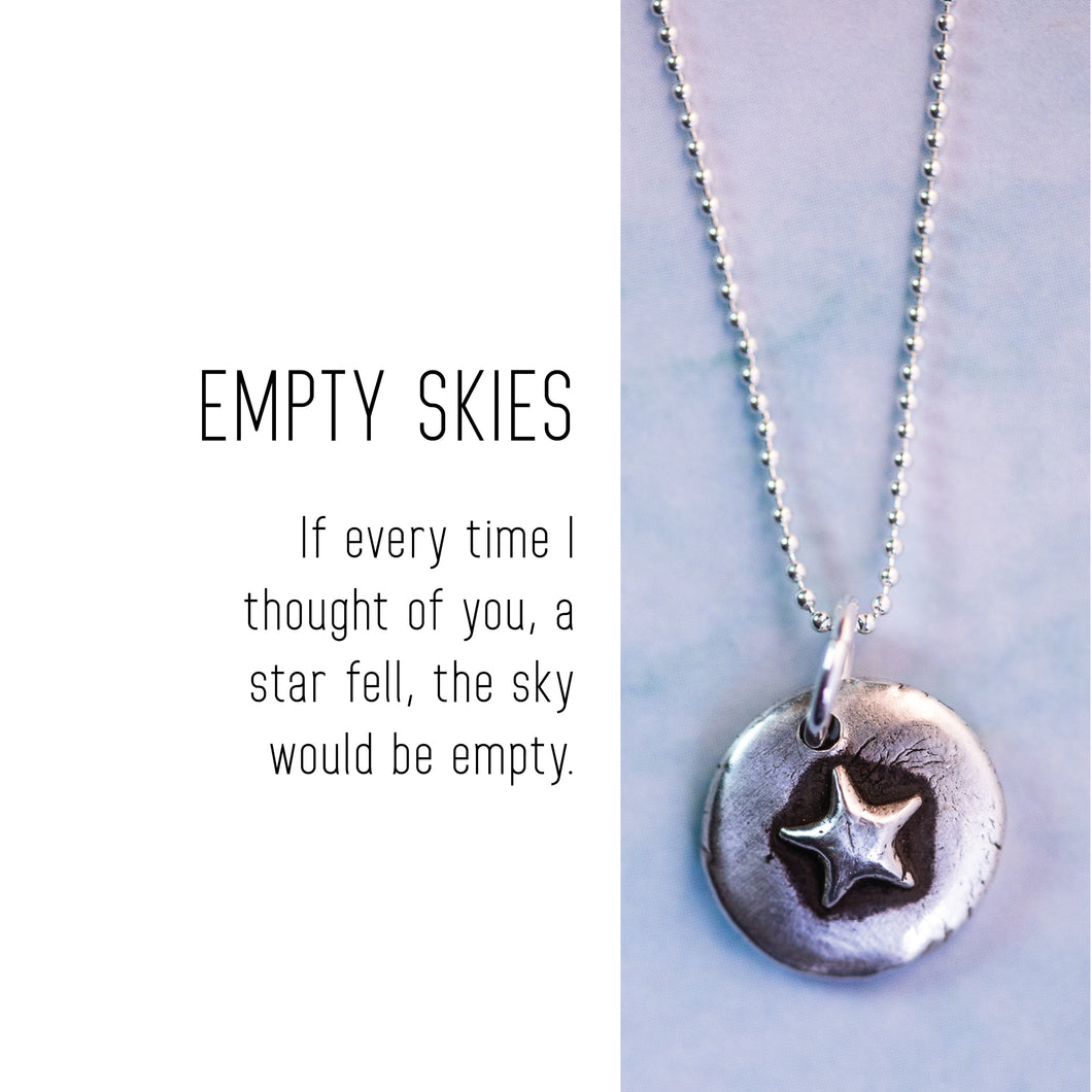 STAR Sterling Silver, Charm Necklace with Sentiment Card