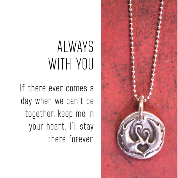 SWANS Sterling Silver, Charm Necklace with Sentiment Card