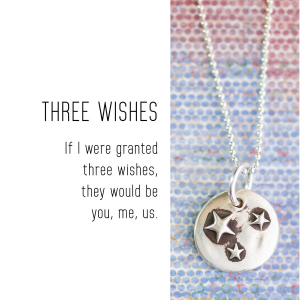 THREE WISHES Sterling Silver, Charm Necklace with Sentiment Card