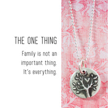 Load image into Gallery viewer, FAMILY TREE Sterling Silver, Charm Necklace with Sentiment Card