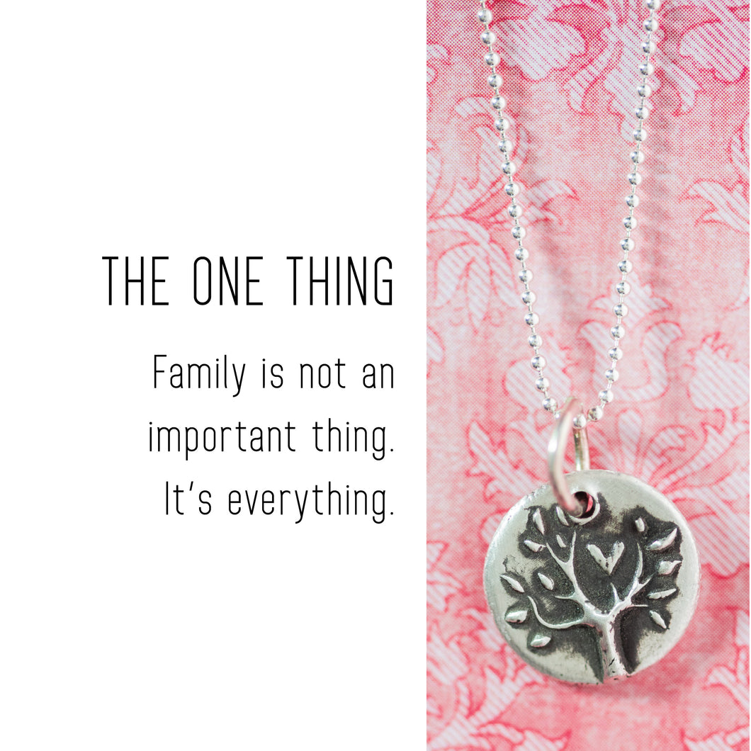 FAMILY TREE Sterling Silver, Charm Necklace with Sentiment Card