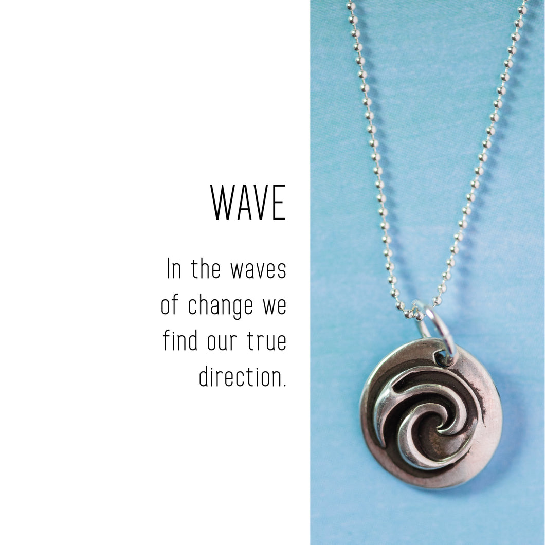 WAVE Sterling Silver, Charm Necklace with Sentiment Card