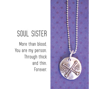 SOUL SISTERS ARROWS Sterling Silver, Charm Necklace with Sentiment Card