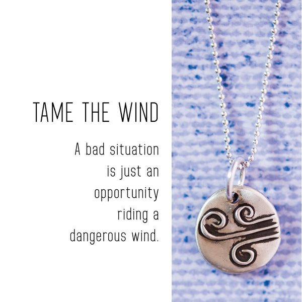 WIND Sterling Silver, Charm Necklace with Sentiment Card