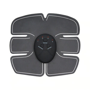 Abs Stimulator powered by EMS (Electronic muscle stimulation). Grey, black and white in colour.