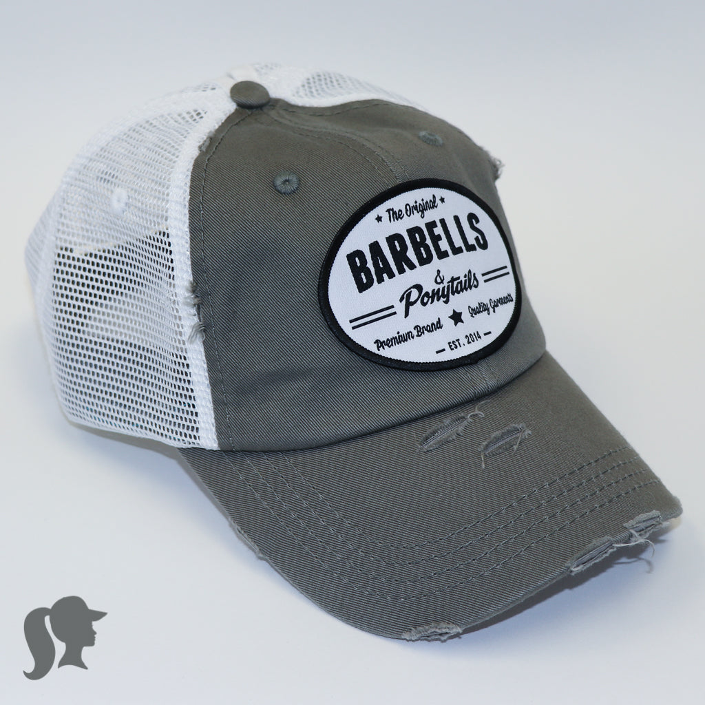 Barbells and ponytails | Grey and white ponytail hat