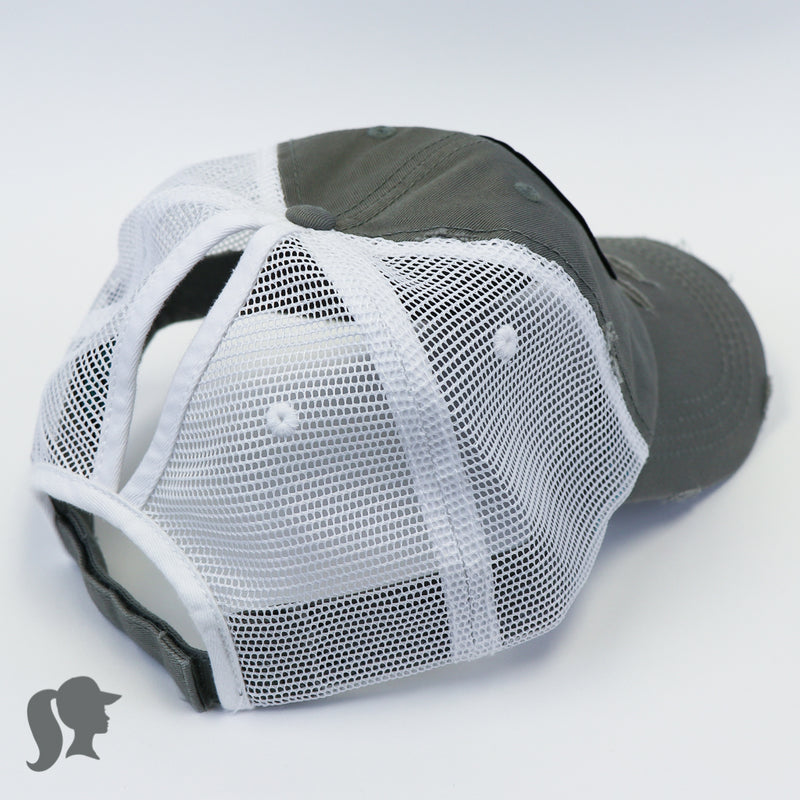 Grey and white high ponytail hat with mesh back