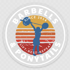 Barbells and ponytails Sunset Decal