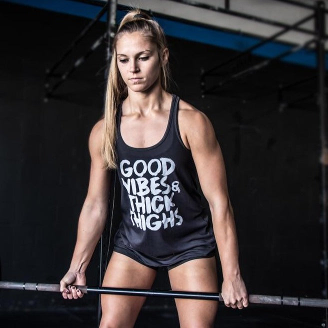 NEW! Good Vibes & Thick Thighs Flowy Racer