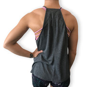 Low squats and high standards flowy high neck tank top back