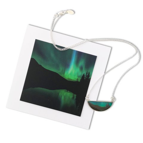 Northern Lights Crescent Necklace by Foterra Jewelry Photographed by Jen Grand