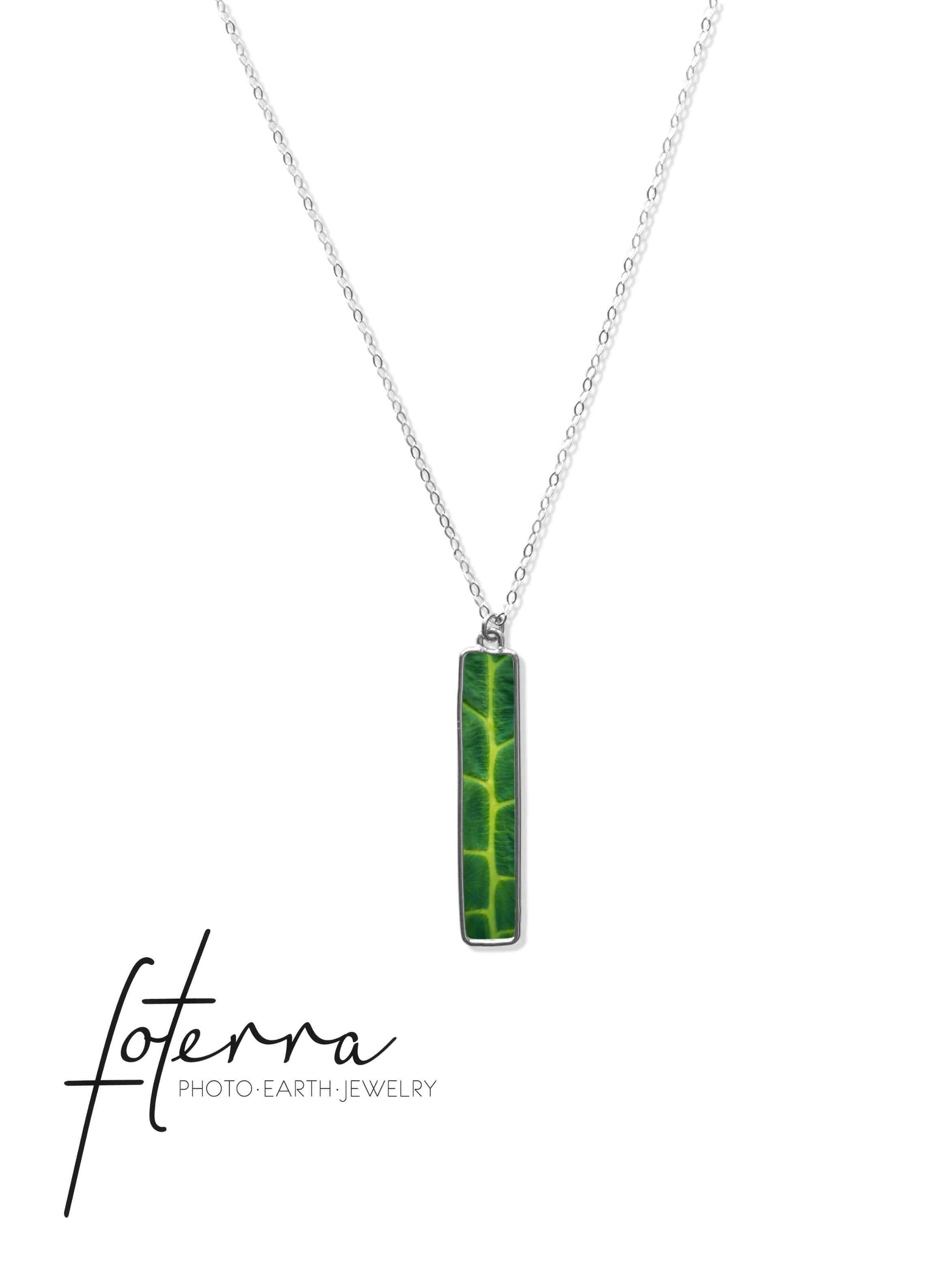 Green Leaf - Vertical Bar Necklace