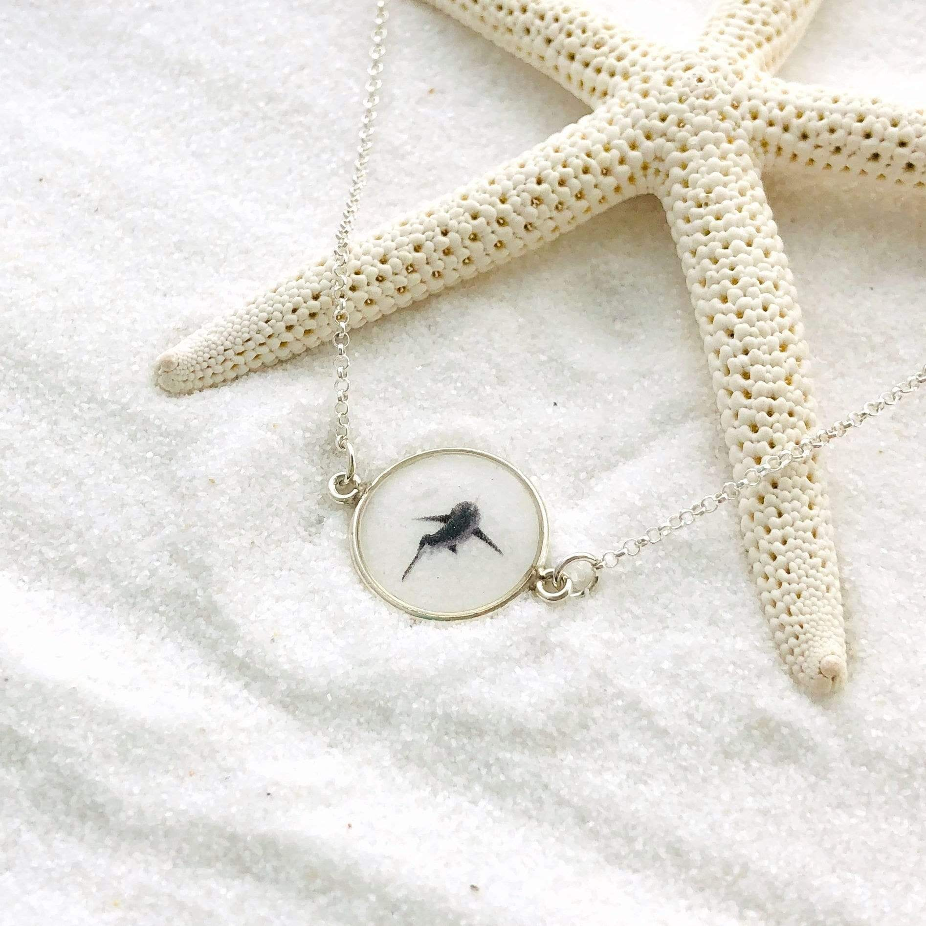 White Shark Small Round Necklace