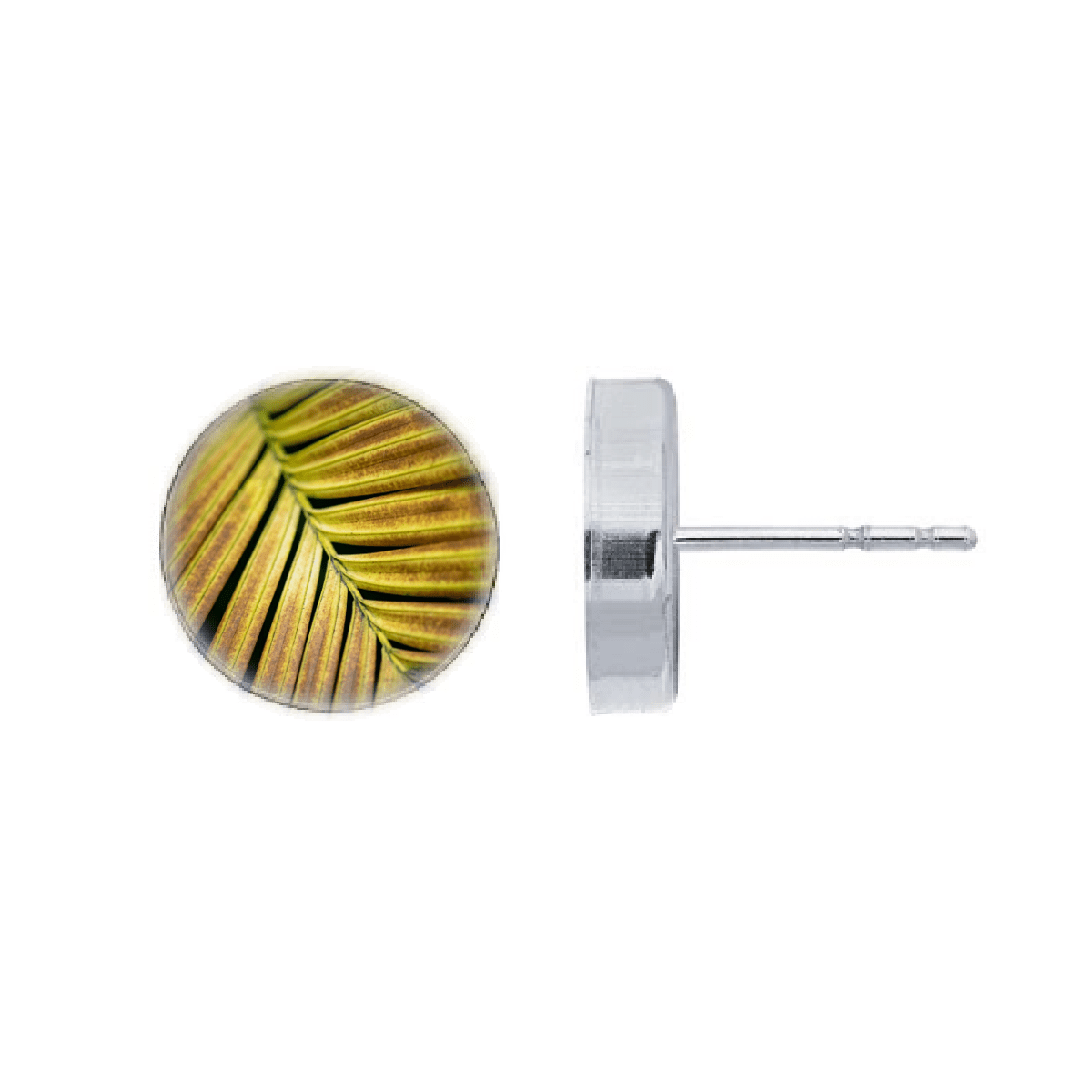 post earrings featuring a golden yellow palm leaf