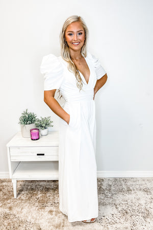 White Puff Sleeve V Neck Jumpsuit
