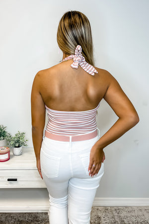 Pink and White Stripe Halter Bodysuit