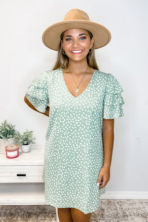 Sage Ruffle Sleeve Spotted Dress