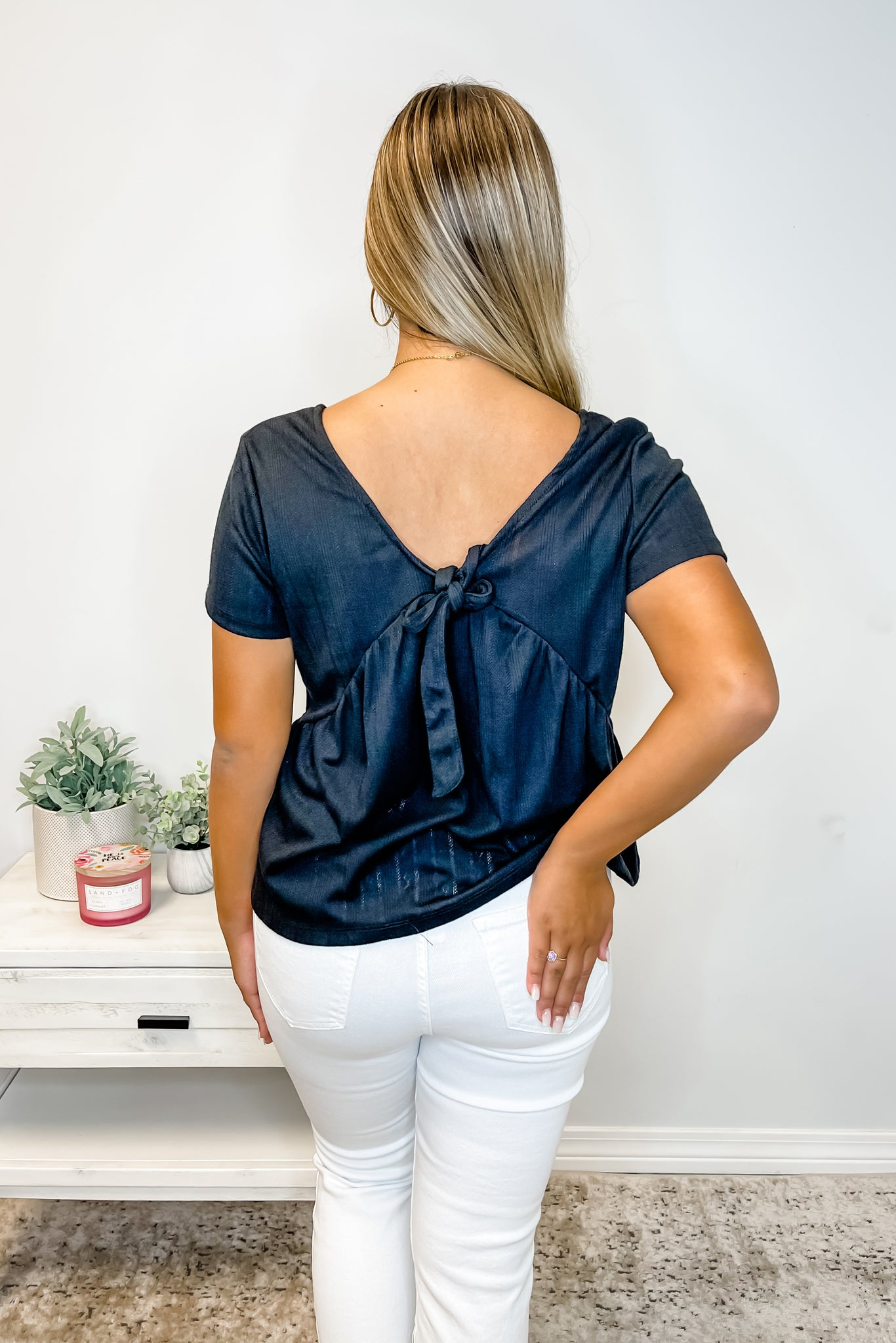 Black Knotted Front Top