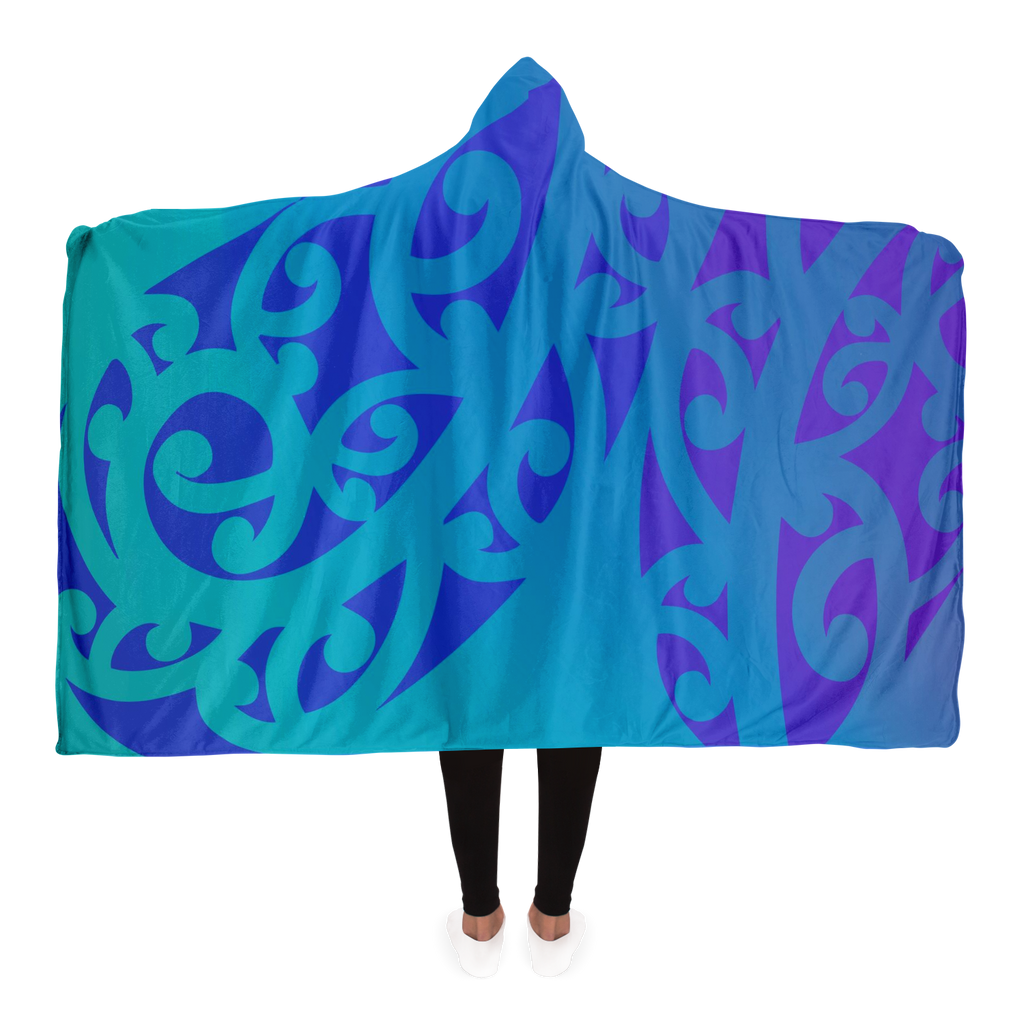 Purple Maori Hooded Blanket
