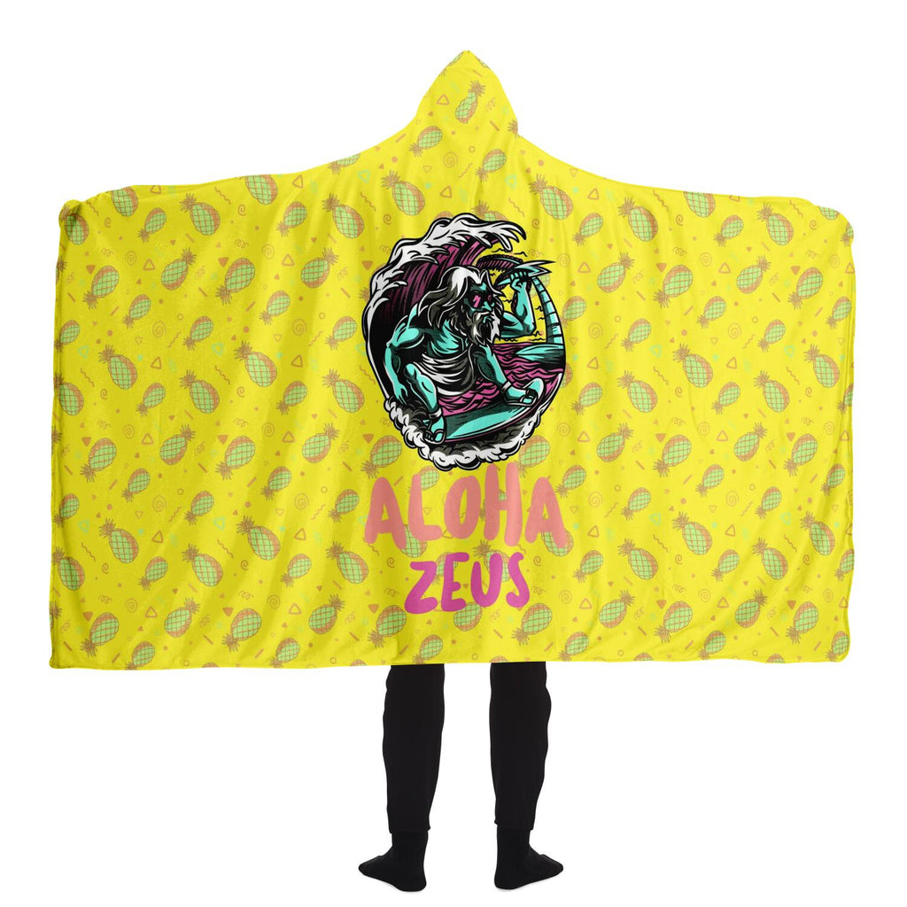 Aloha Zeus Hawaiian hooded blanket