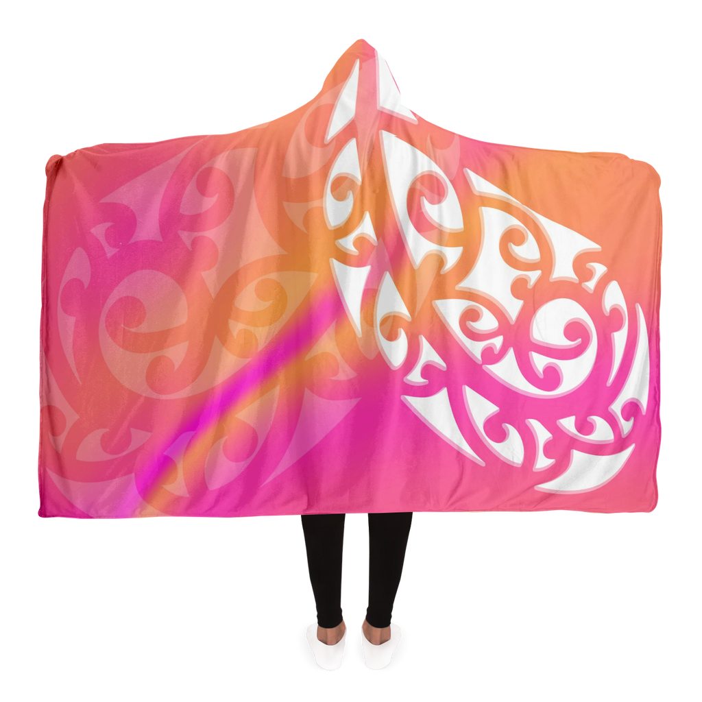 Pink & Yellow Maori Hooded Blanket