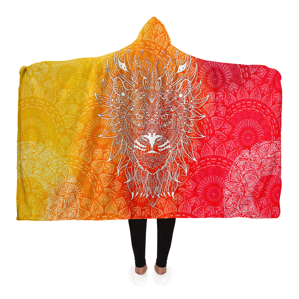 Fire Lion Mandala Hooded Blanket
