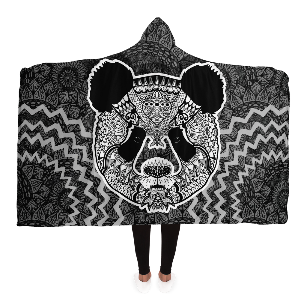 Panda Mandala Hooded Blanket