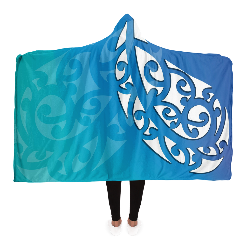 Ocean Blue Maori Hooded Blanket