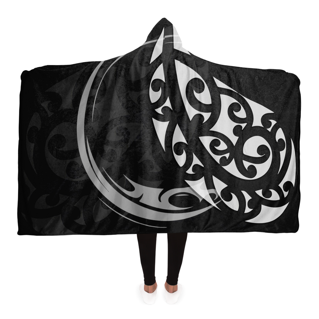Black White & Grey Maori Hooded Blanket
