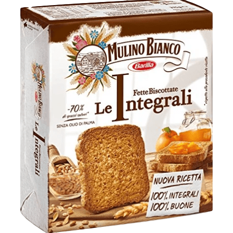 Whole Wheat Rusks Fette Biscottate Italian Toast by Mulino Bianco - 11 oz. - [Premium Italian Food at Home ]