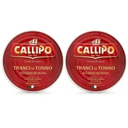 Solid Light Tuna Fish in Olive Oil (2 cans x 5.6 oz) by Callipo - 11.2 oz - [Premium Italian Food at Home ]