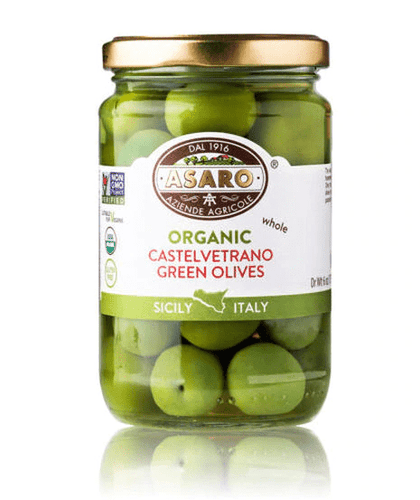 Organic Castelvetrano Green Olives Whole, by Asaro Farm 6 oz - [Premium Italian Food at Home ]
