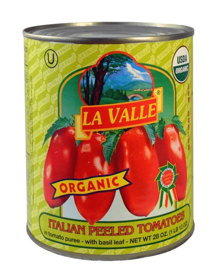 Organic Italian Peeled Tomatoes - by La Valle 28.oz - [Premium Italian Food at Home ]