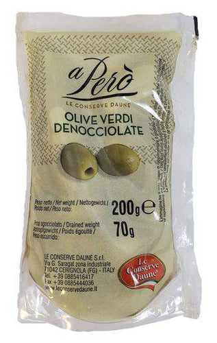 Green Olives Pitted Castelvetrano Olive Verdi Denocciolate -A Pero'  7 oz - [Premium Italian Food at Home ]