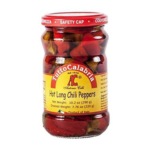 Hot Long Chili Peppers - by Tutto Calabria  10.2 oz - [Premium Italian Food at Home ]