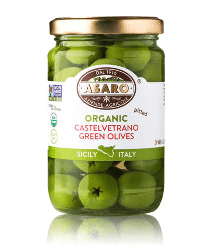 Organic Castelvetrano Green Olives Pitted, by Asaro Farm 6 oz - [Premium Italian Food at Home ]