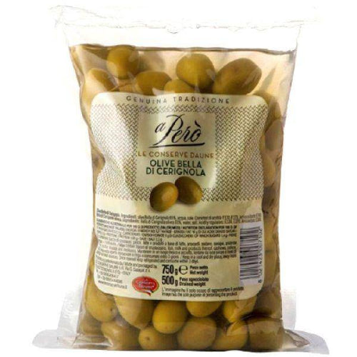 Green Olives Cerignola Bag by A Pero' 800gr - [Premium Italian Food at Home ]