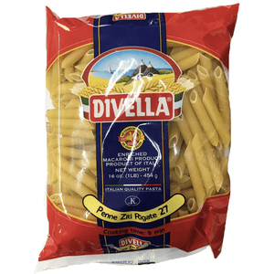 Penne Ziti Rigate No. 27, by Divelle 1 lb - [Premium Italian Food at Home ]
