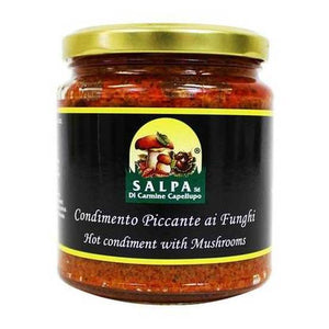 Salpa Hot Mushroom Condiment Spread, 9.9 oz - [Premium Italian Food at Home ]